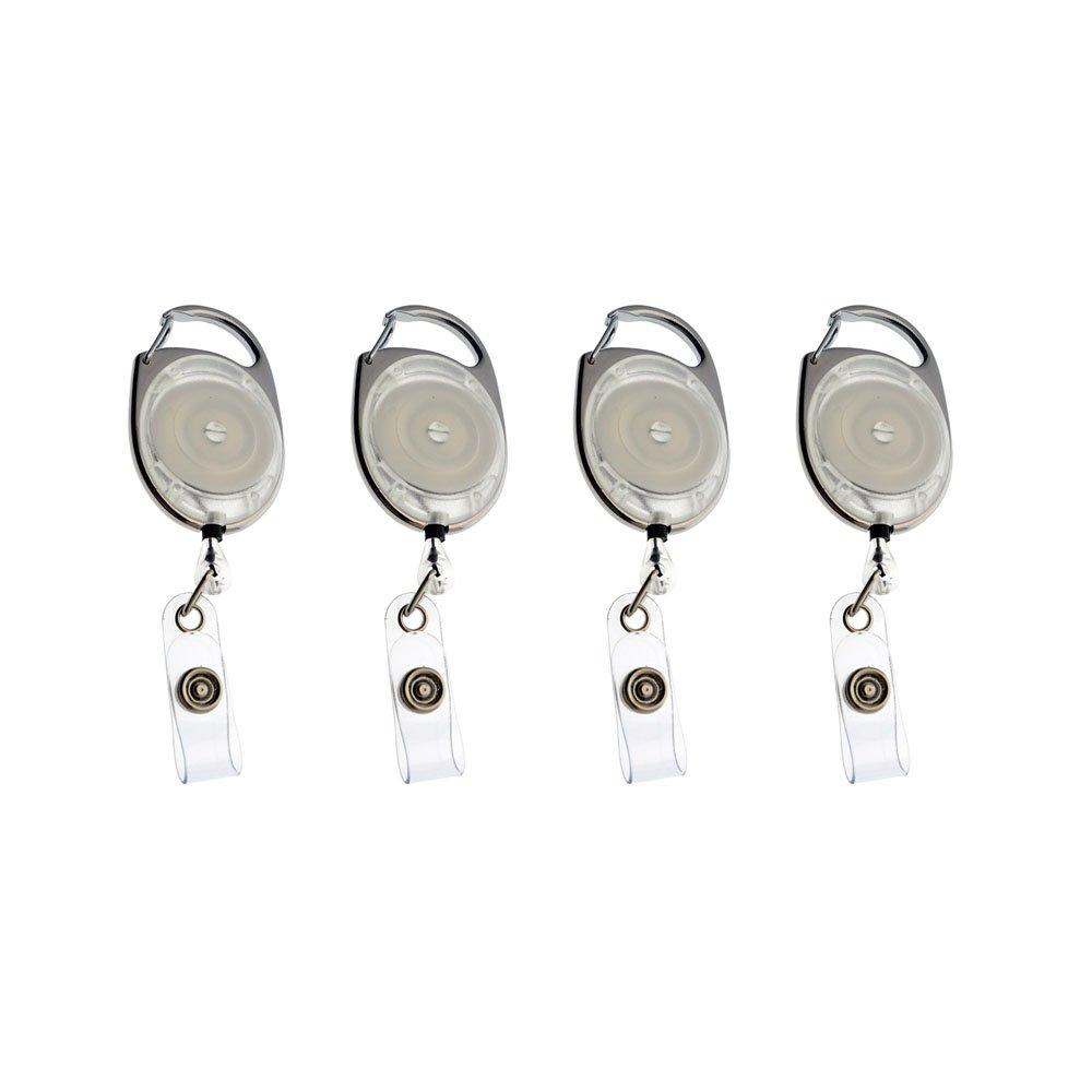 MMY-Badge Rétractable Reel Transparent avec Porte-Clés et Insigne Strap pour ID Badge, Cartes Clés-Blanc-1 Pack