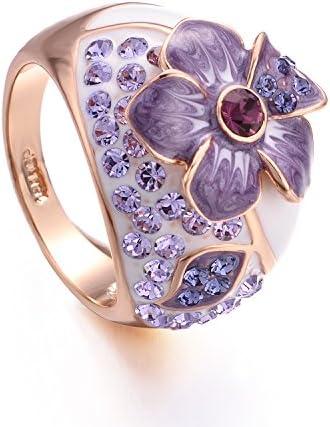 指輪 レディース 花柄 パープル ファッションリング 18kゴールド 太め 指輪 人気 ダイヤ キラキラ指輪 ジュエリー 花 プ