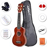"ADM 21"" Economic Soprano Ukulele Start Pack with Gig bag, Tuner, Brown"