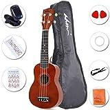"ADM 21"" Economic Soprano Ukulele Start Pack with Gig bag, Tuner and Harmonica, Brown"