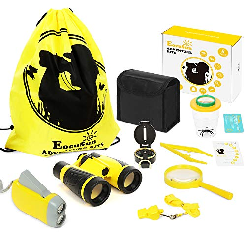 Explorer Kit for Kids Adventure Toys with Binoculars, Flashlight, Compass, Whistle, Magnifying Glass, Backpack for Outdoor Bug Hunting, Great Present for Nature-Loving Kids ()