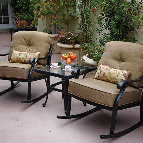 Darlee Nassau 3 Piece Cast Aluminum Patio Conversation Seating Set with Rocking Chairs Darlee Aluminum Rocking Chairs