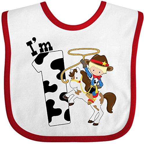 Inktastic - I'm One-cowboy riding horse birthday Baby Bib White/Red 2c9e2