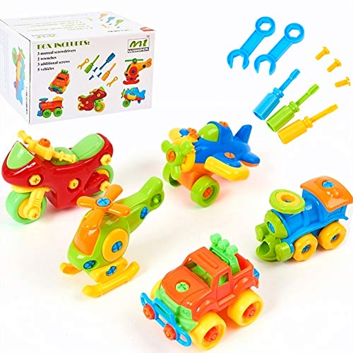 Mi-wonder Vehicle Take Apart Toys Construction Engineering STEM Learning Toy Vehicle Building and Construction Play Set - Pack of 5 with Tools
