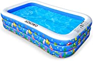 AOKIWO Family Inflatable Swimming Pool, Full-Sized Inflatable Lounge Pool Kiddie Pool for Kids, Adults, Infant