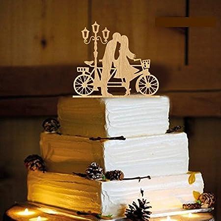Decoración de madera para tarta de boda novio beso novia bicicleta silueta regalo de boda para la pareja: Amazon.es: Hogar