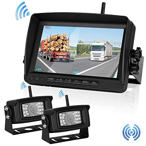 (Upgraded Dual Digital Wireless Backup Camera&Monitor High-Speed Observation System RV/Truck /Trailers//5th Wheel 7