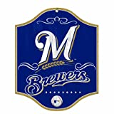 MLB Milwaukee Brewers 11-by-13 Wood Sign