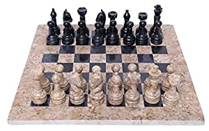 RADICALn Handmade Black and Coral Marble two player Chess Game Marble Chess Set Chessboard