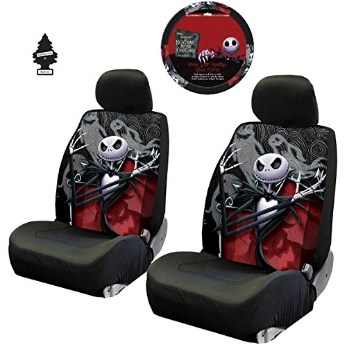 Yupbizauto New 3 Pieces Nightmare Before Christmas Jack Skellington Ghostly Car Truck SUV Low Back Seat Covers Set with Air Freshener]()