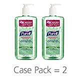 PURELL Advanced Hand Sanitizer Soothing Gel for the workplace, Fresh scent, with Aloe and Vitamin E - 1 Liter pump bottle (Case 2) - 3081-02-EC