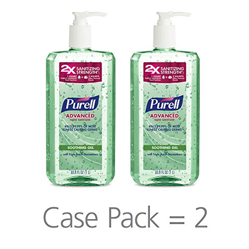 PURELL Advanced Hand Sanitizer Soothing Gel for the workplace, Fresh scent, with Aloe and Vitamin E - 1 Liter pump bottle (Case 2) - 3081-02-EC ()