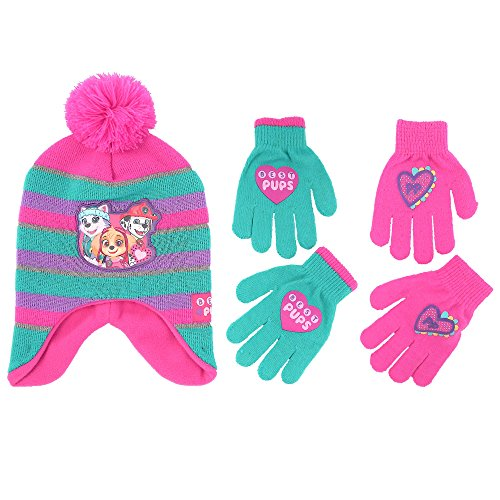 Nickelodeon Little Girls Paw Patrol Character Hat and 2 Pair Mittens or Gloves Cold Weather Set, Age 2-7 (Little Girls Age 4-7 Hat & 2 Pair Gloves Set, Pink/Green)
