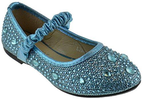 FU 037 KM Little Girls Rhinestone Ballet Ballerina Flats Light Blue Glitter -