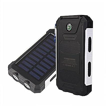 Amazon.com: 50000 mAh Banco de la energía solar 2 LED 2 USB ...