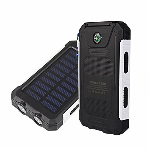 50000mah Solar Power Bank 2 LED 2 USB Battery Charger Waterproof Black+White