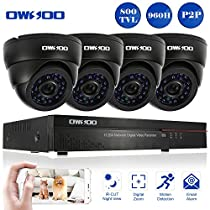 OWSOO 8CH Full 960H/D1 CCTV Surveillance DVR Security System HDMI P2P Cloud Network Digital Video Recorder with 8x 800TVL Indoor Infrared Dome Camera, Support IR-CUT Night Vision Plug and Play - Black
