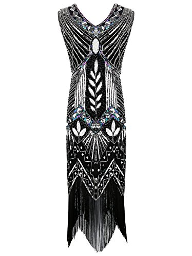 Urmine Women's 1920s Gatsby Evening Retro Sequined Flapper Tea Fringed Evening Prom Dress (M, (Buy Flapper Dresses)