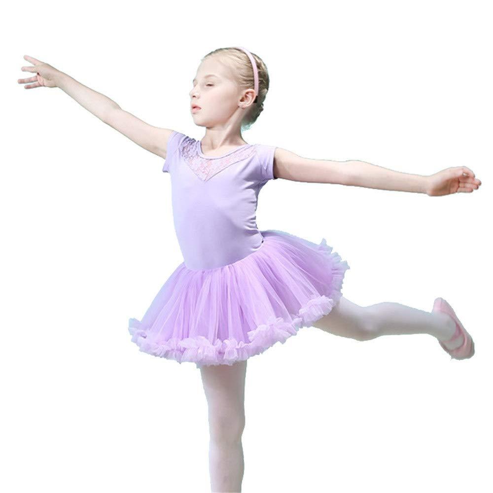 Girls Kids Lace Sleeve Gymnastics Leotard Ballet Dress Tutu Skirt Dance Costume