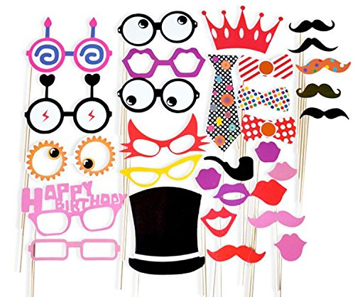 [New 31 piece DIY Photo Booth Props,Mask for Wedding,Reunions,Birthdays and Family Party(Includes Wooden Sticks and Roundots] (Diy Family Costumes)
