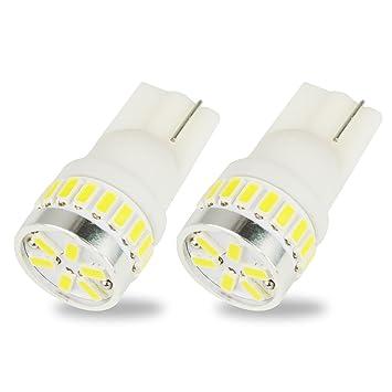 Safego 2x Bombillas LED T10 W5W 194 168 24SMD 3014 Luz de la Placa del Auto