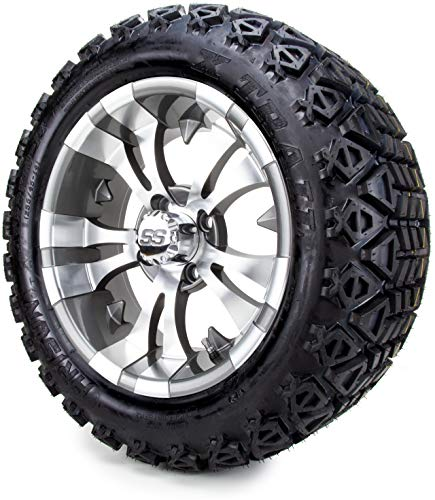14 Inch Golf Cart Wheels and Tires Combo – Gunmetal Vampire 14 Inch Golf Cart Wheels and Tires Combo Set of 4 with All Terrain Tires