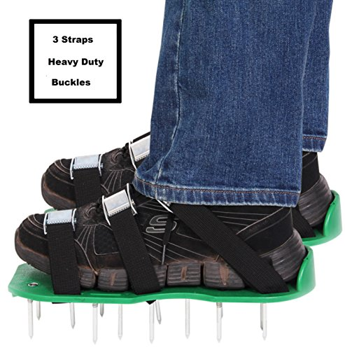 "Lawn Aerator Shoes - Spiked Soil Aerator Sandals with Commercial Grade 2"" Steel Spikes, Metal Buckles and 3 Adjustable Straps - Manual Yard Aeration Strap on Shoe with Spiked Soles"