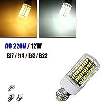 E27 E12 E14 B22 12W 140 SMD 5730 Fireproof Shade LED Warm White White Cover Corn Bulb AC220V (Random: Base Color)
