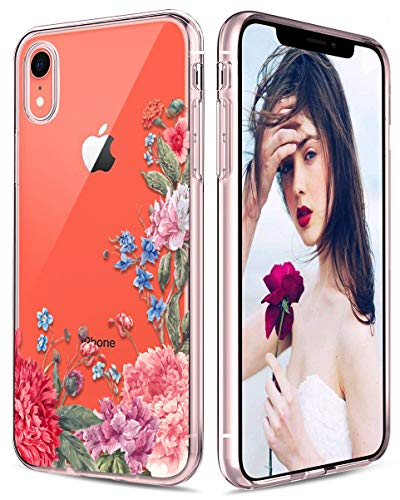 Casetego Compatible iPhone XR Case,Clear Soft Flexible TPU Case Rubber Silicone Skin with Flowers Floral Printed Back Cover for Apple iPhone XR 6.1