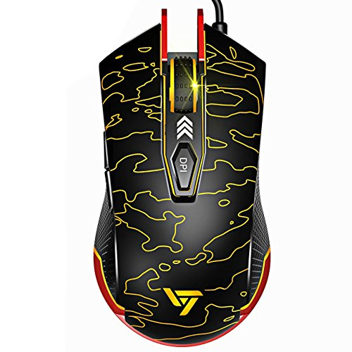 VicTsing Ergonomic Gaming Mouse Wired with 6 DPIs (up to 5500), Programmable PC Gaming Mouse for Mac OS, Windows, Vista, Linux (Plug & Play, Unique Design, Colors Cool Backlit)