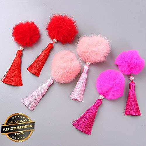 Gatton Premium New 1Pair Chinese Style Fur Pompom Ball Hair Clips Tassel Hairpin Hanfu Headwear New   Style HRCL-M182012787