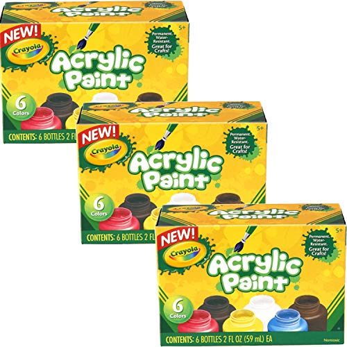 Crayola Acrylic Paint Art Tools 6 2-Ounce Bottles, Assorted Bright, Bold Colors (Pack of 3) by Crayola