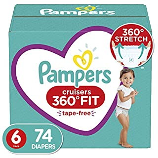 Diapers Size 6, 74 Count - Pampers Cruisers 360° Fit Disposable Baby Diapers, Enormous Pack (Packaging May Vary)