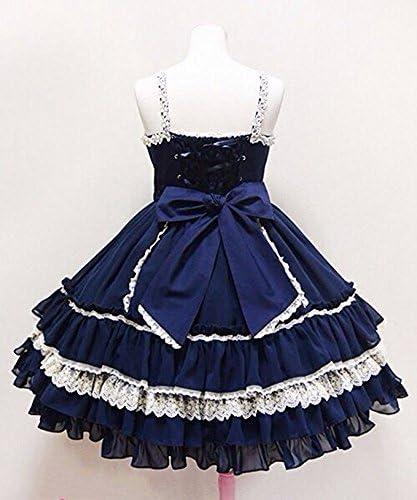 Smiling Angel Retro Sweet Lolita Court Ball Costumes Lace Bow Braces Skirt Dress