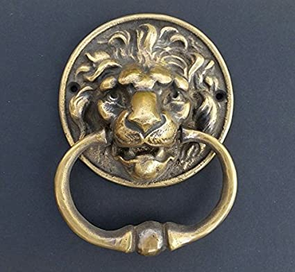 Big unique antique vintage brass Lion Head door knocker, Hand-Towel Ring #D6 - Big Unique Antique Vintage Brass Lion Head Door Knocker, Hand-Towel