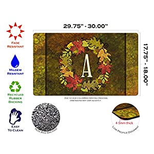 Toland Home Garden Fall Wreath Monogram A 18 x 30 Inch Decorative Autumn Floor Mat Colorful Leaves Doormat 2