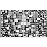 Designart Black and Grey Cubes Contemporary on Canvas Art Wall Photgraphy Artwork Print