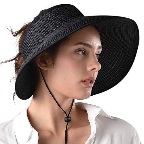(Sun Visor Summer Hats for Women Foldable Packable Wide Brim Straw Hat UV Protection UPF 50 Ponytail Beach Hat Black)