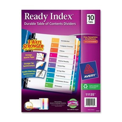 (3 Pack Value Bundle) AVE11135 Ready Index Contemporary Table of Contents Divider, 1-10, Multi, Letter