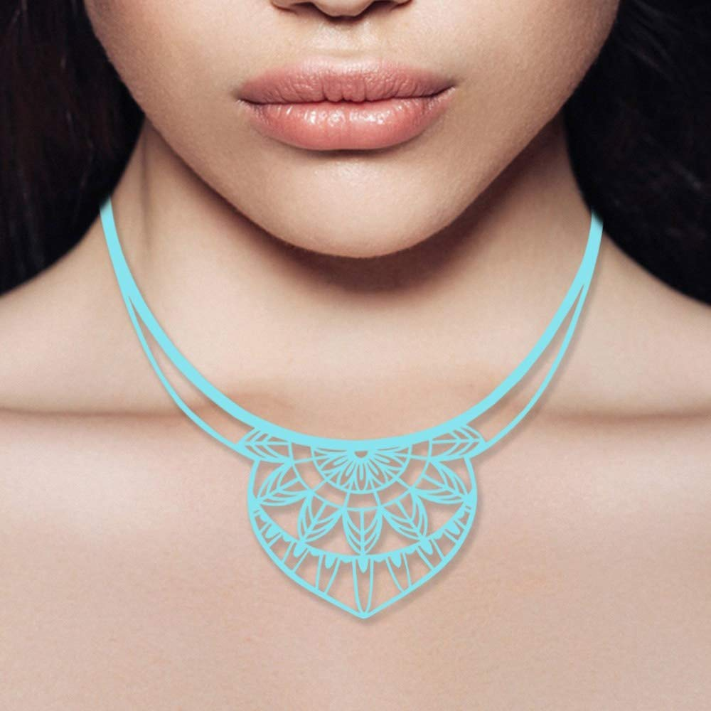 LAD 0014 G BLEU- Blue Pearls Blue Silicone Gum India Necklace Effect Tatto Blue Pearls LAD 0014 G BLEU
