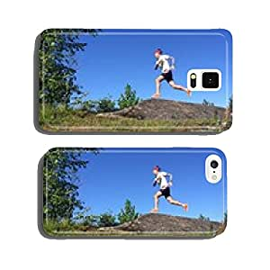 trail runner on rocky outcrop with purple flowers in foreground cell phone cover case iPhone5