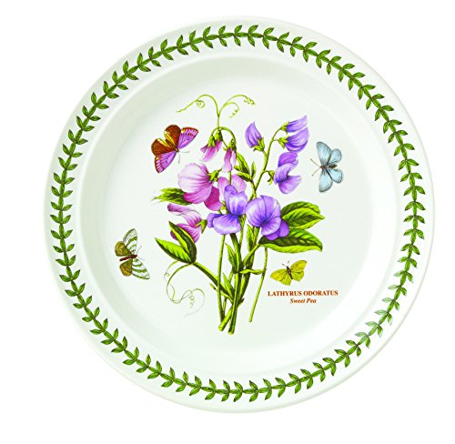 Portmeirion Botanic Garden Dinner Plates, Set of 6 Assorted Motifs (Peony Accent Plate)