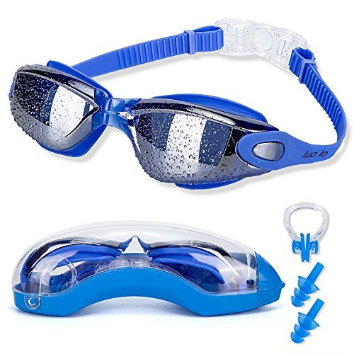 luolo Swimming Goggles with Earplug and Nose Clip, Most Clear Lenses Triathlon Swim Goggles, Good Seal No Leaking, Anti Fog UV Protection, Adjustable Strap Swimming Goggles for Adult Boys & - Goggles Triathlon Amazon
