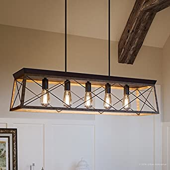 Luxury Industrial Chic Island Linear Chandelier, Large Size 9 H x 38 W, with Modern Farmhouse Style Elements, Olde Bronze Finish, UHP2126 from The Berkeley Collection by Urban Ambiance