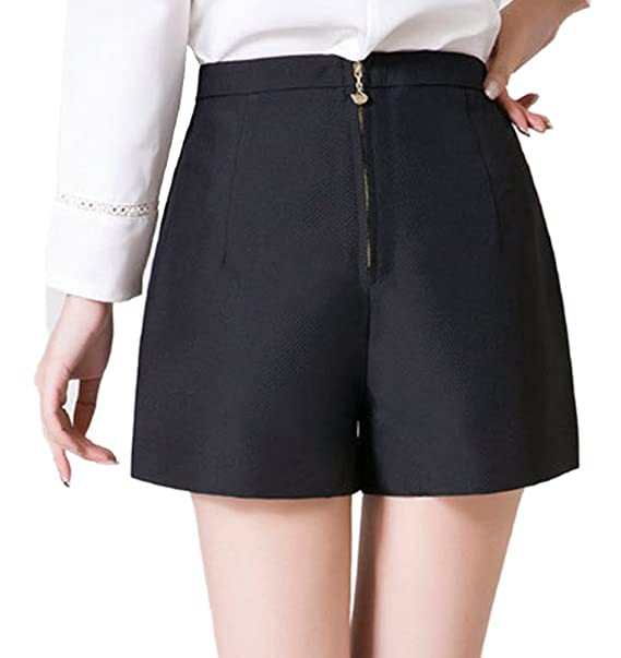 6fc08448f8 Youtobin Women s Leisure Solid Colored Flared High Waist Culotte Shorts M  Black