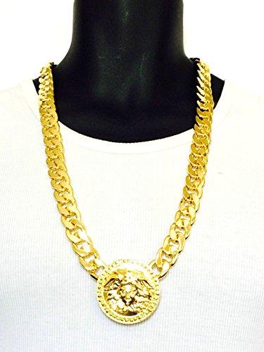 Mens 3 Medallion Gold Greek God 14mm Cuban Link Chain Pendant Rapper Necklace 33 Inch - Gold Finish Medallion Necklace