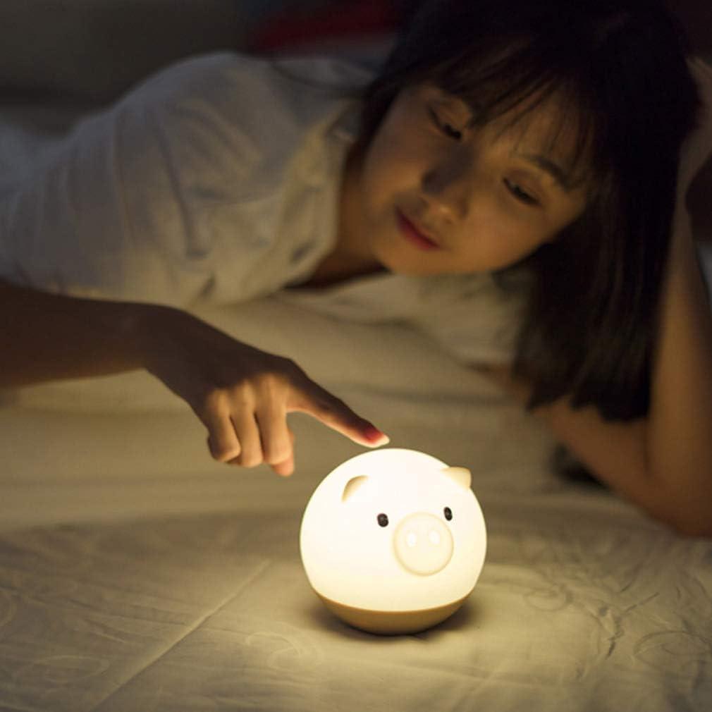 HUSTLE Veilleuse De Bébé LED Veilleuse Enfant Lumière De Nuit en Forme De Porcusb Rechargeable Veilleuse Lampe De Silicone Bébé Lampe pour Chambre d'enfant,Bleu Blue