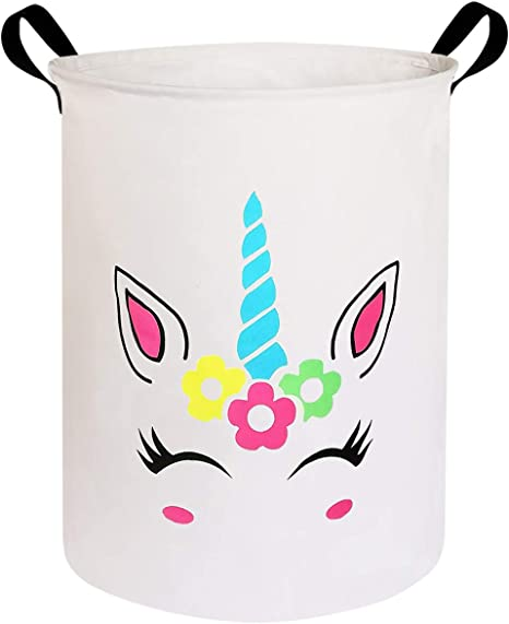 Canvas Fabric Laundry Hamper,for Toy Organizer Bins,Gift Baskets HIYAGON Laundry Baskets,Collapsible Hamper Clothes Blue Horned Unicorn Bedroom Nursery,Kids,Boys