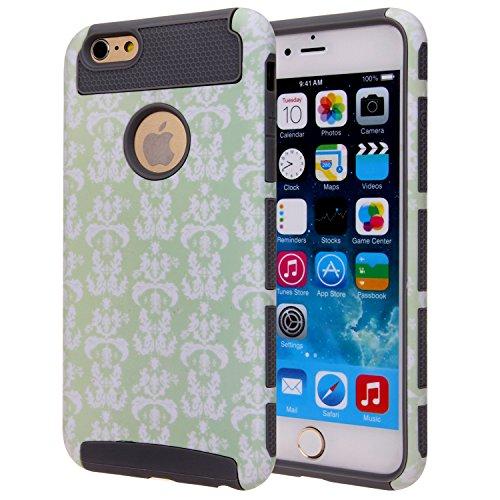 6 Plus Case, SGM (TM) Defender 2-Piece Style High Impact Hybrid Case for iPhone 6 Plus (5.5) (Mint + White (Vintage))