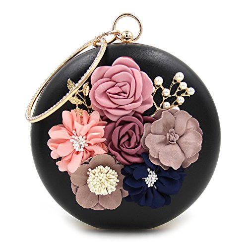 Con Cuentas De Perla Embrague Bolsa Negro Para Noche Mano Cena Mujer Satén Flor De Moda Tooky Redondez O6w0wq